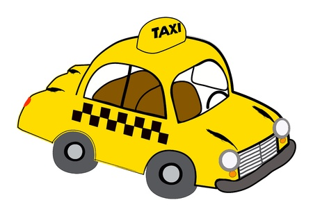 Yellow taxi illustration on white
