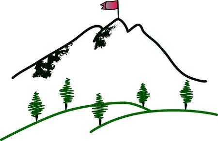 Mountain summit illustration on white Stock Vector - 14487288