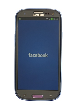 Facebook application on Samsung Galaxy, Android based system Stock Photo - 14681589