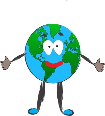 Happy Earth embrace illustration on white Ilustracja