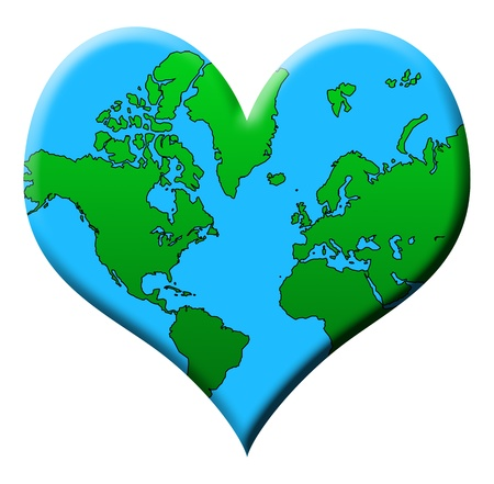 Love Earth concept on a white background