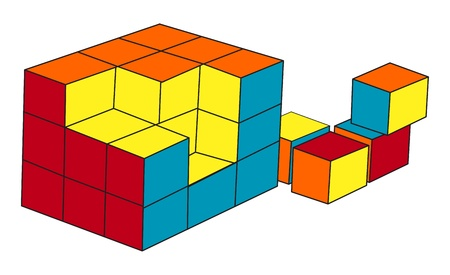 Puzzle cube on a white background, vector image Stock Vector - 14836690