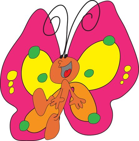 Happy and colorful butterfly illustration on white Stock Vector - 14836691