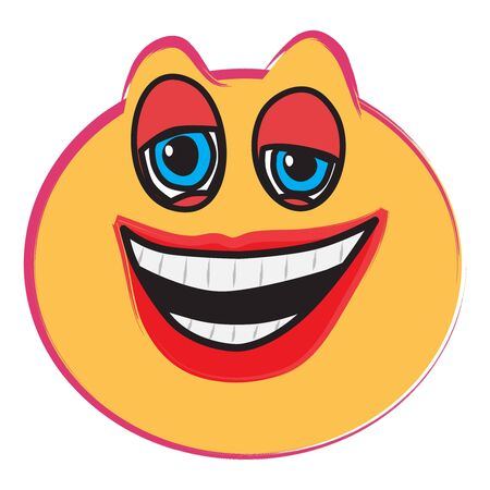 Laughing face illustration on white, vector image Stock Vector - 14836709