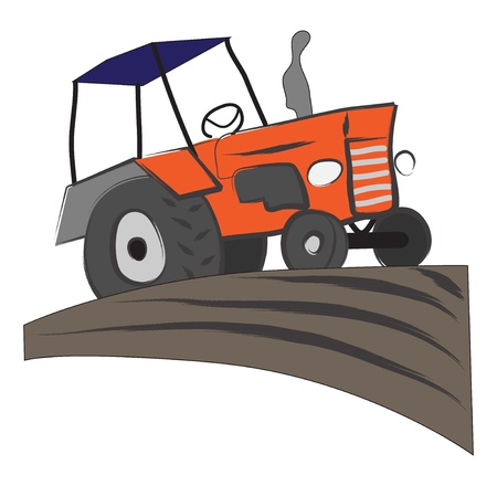 Working tractor on the field illustration