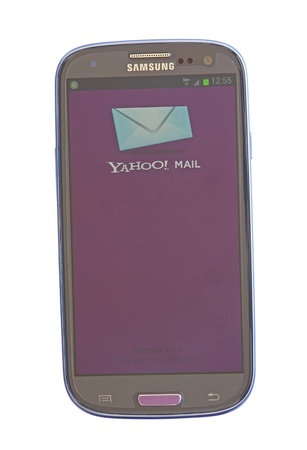 Piatra Neamt, Romania - July 30, 2012: Yahoo mail on mobile, Android based device, Samsaung Galaxy SIII Stock Photo - 15055047