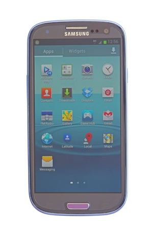 Piatra Neamt, Romania - July 30, 2012: Touch screen phone menu, Samusng Galaxy SIII with Android Stock Photo - 15055049