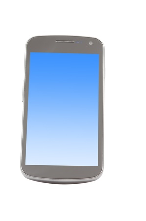 Smartphone with blue screen isolated on white