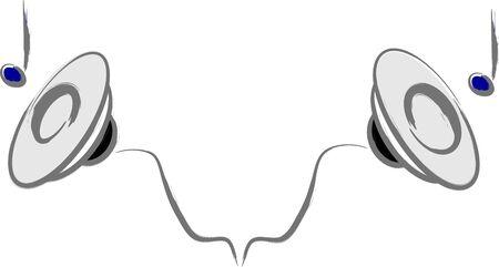 Stereo sound sign illustration over white Ilustracja