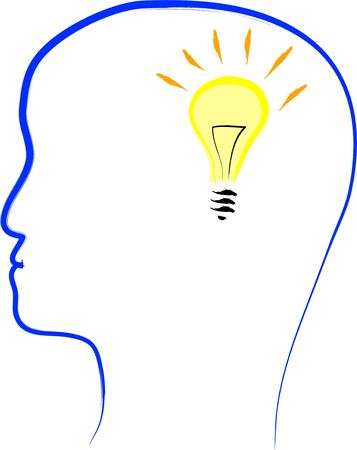 Flashing bulb in a head, vector illustration Ilustracja