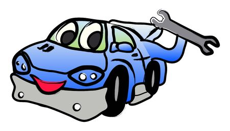 Happy car illustration with a spanner key in hand