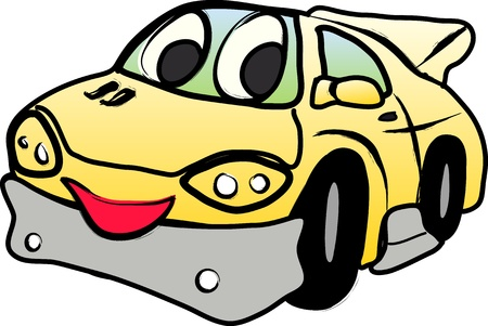 Yellow happy car on a white background Stock Vector - 16234965