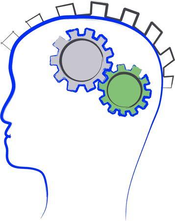 Brain mechanism illustration, abstract hand drawn Ilustracja