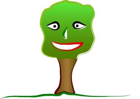Happy tree illustration on a white background Ilustracja