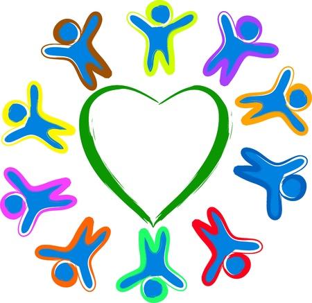 Happy children arround the heart