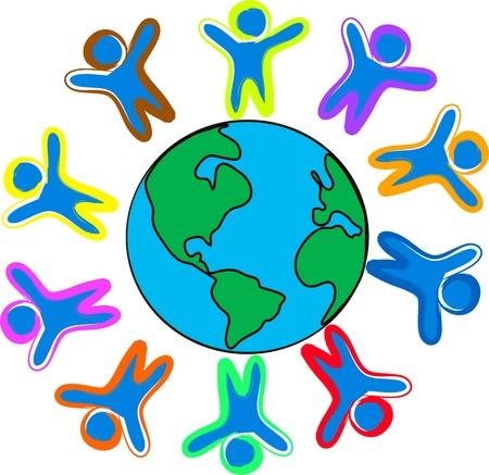 Happy childrens around the world illustration Stock Vector - 16367518