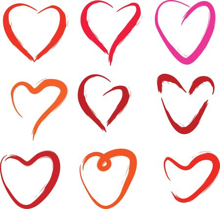 Hearts collection on a white background