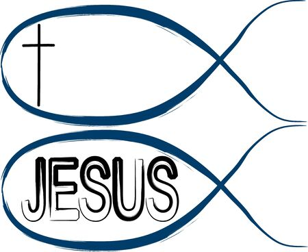 jesus word: Christian fishes: fish with cross eye and fish with Jesus word on it Illustration