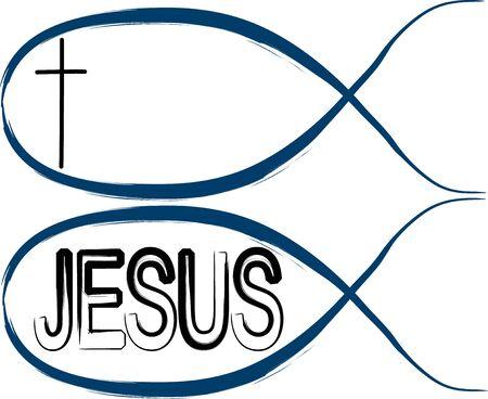 pez cristiano: Peces: peces cristianos con la cruz y los ojos de pescado con la palabra de Jesús sobre el mismo Vectores