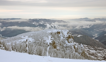 Winter mountain landscape , Ceahlau mountains in Romania Stock Photo - 17842326