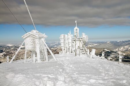 meteorological: Frozen weather station on mountain top Stock Photo