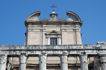 Temple of Antoninus and Faustina in the Roman forum, Rome photo