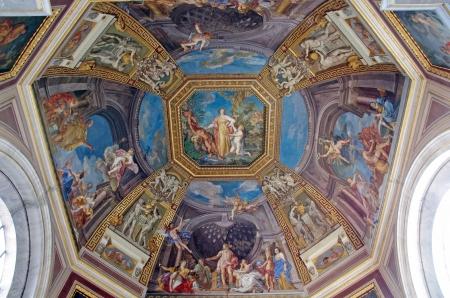 Ceiling details in Vatican Museum, Vatican City Editorial