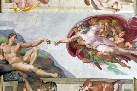 Michelangelo's frescoes (The Creation of Adam) in Sistine Chapel, Vatican City