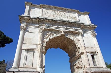 triumphal: Titus Arch of Triumph in Roman forum, Rome Stock Photo