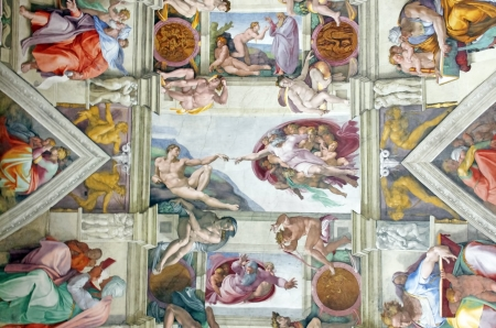 Michelangelos masterpiece: Sistine Chapel ceiling with Creation of Adam in center