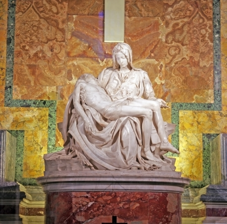 ROME, ITALY - MARCH 07: Pieta by Michelangelo in Saint Peters Basilica, Vatican on March 07, 2011 in Rome, Italy