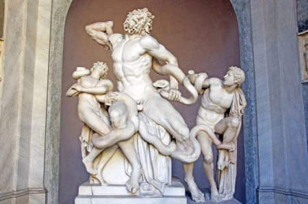 ROME, ITALY - MARCH 08: Laocoon group (Laocoon and his sons) in Vatican Museum on March 08, 2011 in Rome, Italy Editorial