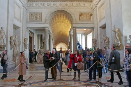 ROME, ITALY - MARCH 08: Crowds visiting Vatican Museum on March 08, 2011 in Rome, Italy
