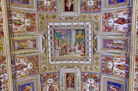 ROME, ITALY - MARCH 08: Ceiling details in Vatican Museum on March 08, 2011 in Rome, Italy