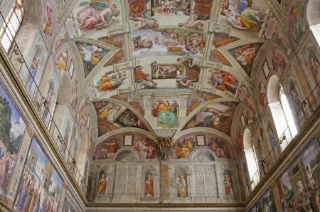 ROME, ITALY - MARCH 08: Interior view of Sistine Chapel with Michelangelos frescoes on March 08, 2011 in Rome, Italy Editorial