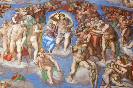 fresco: The Last Judgment by Michelangelo in the Sistine Chapel,