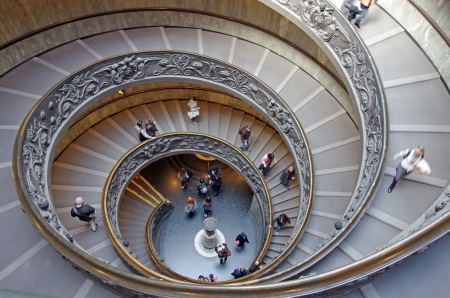 ROME, ITALY - MARCH 08: Interior view of Vatican Museum, spiral stairs (double helix) on March 08, 2011 in Rome, Italy