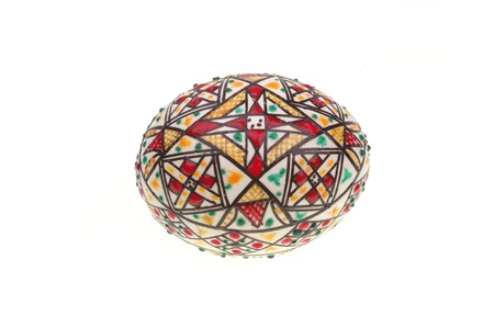 Decorated Easter egg from Bucovina, Romania isolated on white Stock Photo - 19938230