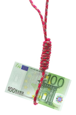 gibbet: Money hanging from a gibbet on white