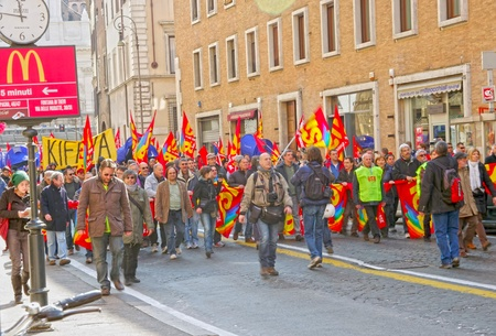 ROME, ITALY - MARCH 11  Public workers strike on March 11, 2011 in Rome, Italy