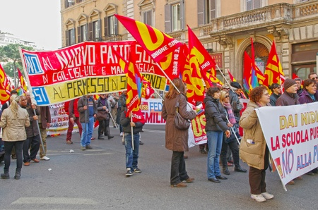 public sector: ROME, ITALY - MARCH 11  Public workers strike on March 11, 2011 in Rome, Italy Editorial
