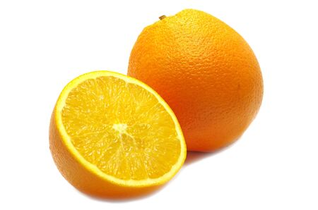 A orange and half isolated on white Stock Photo - 22001857