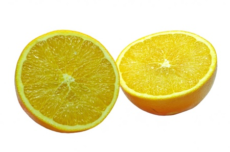 Cut in half an orange over a white background Stock Photo - 22001798