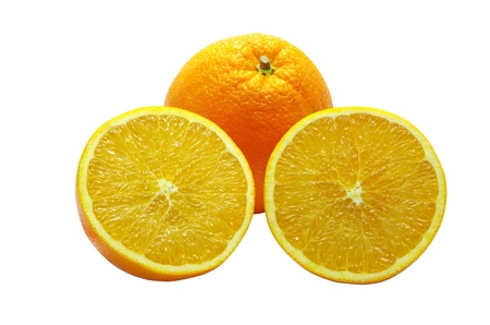 Cut a fresh orange in two half, over white Stock Photo - 22001861