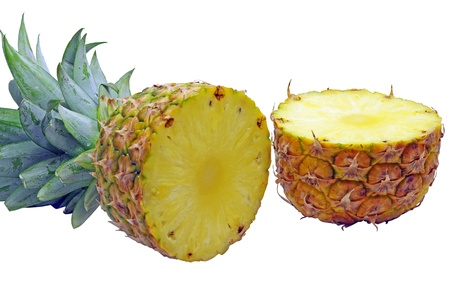 Half cut pineapple on a white background Stock Photo - 22002119