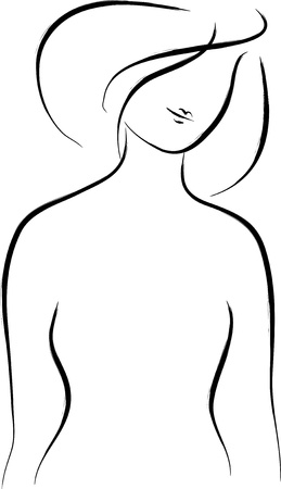 Abstract woman silhouette over white Ilustracja