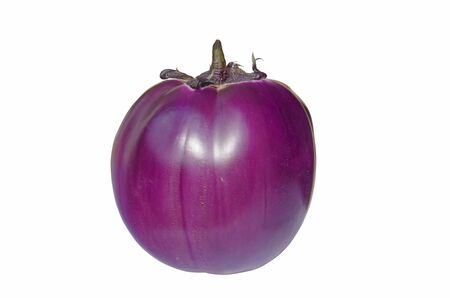 eggplants: Close image of a violet round aubergine on white Stock Photo