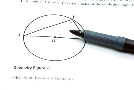 mathematical proof: Draw a geometry figure on white paper  Stock Photo