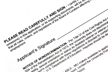 formal signature: Empty applicant signature on a white document