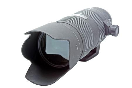 telezoom: Zoom telephoto lens for DSLR camera on white